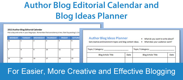 Author Blog Editorial Calendar and Blog Ideas Planner: Free Templates